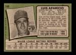 1971 Topps #740  Luis Aparicio  Back Thumbnail