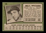 1971 Topps #350  Billy Williams  Back Thumbnail