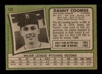1971 Topps #126  Dan Coombs  Back Thumbnail