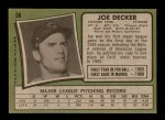 1971 Topps #98  Joe Decker  Back Thumbnail