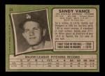 1971 Topps #34  Sandy Vance  Back Thumbnail