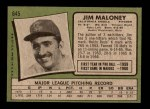 1971 Topps #645  Jim Maloney  Back Thumbnail