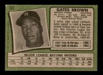 1971 Topps #503  Gates Brown  Back Thumbnail