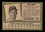 1971 Topps #407  Joe Rudi  Back Thumbnail