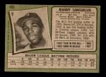 1971 Topps #480  Manny Sanguillen  Back Thumbnail