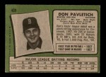 1971 Topps #409  Don Pavletich  Back Thumbnail