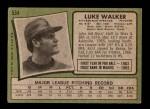 1971 Topps #534  Luke Walker  Back Thumbnail