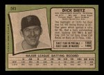 1971 Topps #545  Dick Dietz  Back Thumbnail