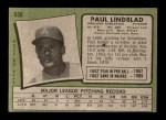 1971 Topps #658  Paul Lindblad  Back Thumbnail