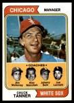1974 Topps #221   -  Chuck Tanner / Joe Lonnett / Jim Mahoney / Al Monchak / Johnny Sain White Sox Leaders   Front Thumbnail