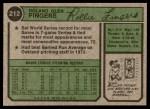 1974 Topps #212  Rollie Fingers  Back Thumbnail