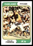 1974 Topps #212  Rollie Fingers  Front Thumbnail