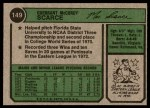 1974 Topps #149  Mac Scarce  Back Thumbnail