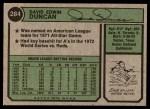 1974 Topps #284  Dave Duncan  Back Thumbnail