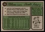 1974 Topps #72  Aurelio Rodriguez  Back Thumbnail
