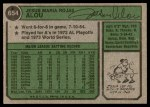 1974 Topps #654 OF Jesus Alou  Back Thumbnail