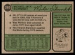 1974 Topps #283  Mike Schmidt  Back Thumbnail