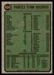 1974 Topps #626   Pirates Team Back Thumbnail