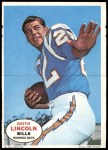 1968 Topps Poster Inserts #13  Keith Lincoln  Front Thumbnail