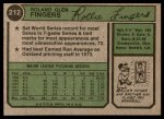 1974 Topps #212  Rollie Fingers  Back Thumbnail