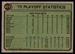1974 Topps #471  Jon Matlock 1973 NL Playoffs Back Thumbnail