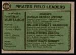1974 Topps #489   -  Danny Murtaugh / Don Leppert / Bill Mazeroski / Don Osborn / Bob Skinner Pirates Leaders   Back Thumbnail