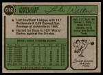 1974 Topps #612  Luke Walker  Back Thumbnail