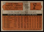 1972 Topps #117 YLW Cleo James  Back Thumbnail