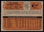 1972 Topps #291  Hal McRae  Back Thumbnail