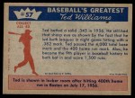 1959 Fleer #57   -  Ted Williams 400th Homer Back Thumbnail