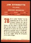 1963 Fleer #78  Jim Stinnette  Back Thumbnail