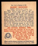 1949 Bowman #8  Murry Dickson  Back Thumbnail
