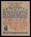 1949 Bowman #215  Kirby Higbe  Back Thumbnail