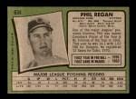 1971 Topps #634  Phil Regan  Back Thumbnail