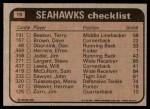 1981 Topps #19   Seahawks Leaders Checklist Back Thumbnail