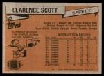 1981 Topps #29  Clarence Scott  Back Thumbnail