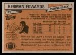 1981 Topps #179  Herman Edwards  Back Thumbnail