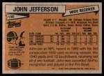 1981 Topps #190  John Jefferson  Back Thumbnail