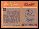 1970 Topps #42  Andy Rice  Back Thumbnail