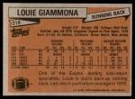 1981 Topps #318  Louie Giammona  Back Thumbnail