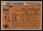 1981 Topps #445  Pat Haden  Back Thumbnail