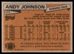 1981 Topps #472  Andy Johnson  Back Thumbnail