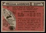 1980 Topps #73  William Andrews  Back Thumbnail