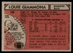 1980 Topps #199  Louie Giammona  Back Thumbnail