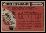 1980 Topps #239  Vince Ferragamo  Back Thumbnail