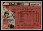1980 Topps #276  Brad Dusek  Back Thumbnail