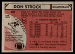 1980 Topps #381  Don Strock  Back Thumbnail