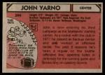 1980 Topps #399  John Yarno  Back Thumbnail