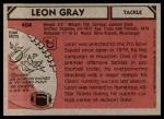 1980 Topps #404  Leon Gray  Back Thumbnail