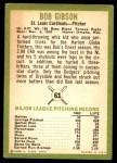 1963 Fleer #61  Bob Gibson  Back Thumbnail